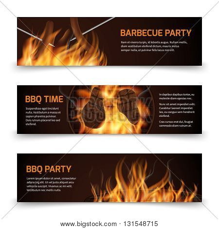 Bbq grill party horizontal vector banners set with realistic hot fire. Bbq party banner and bbq picnic illustration