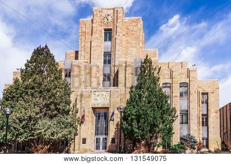 Close up view of Court House in downtown Boulder Colorado
