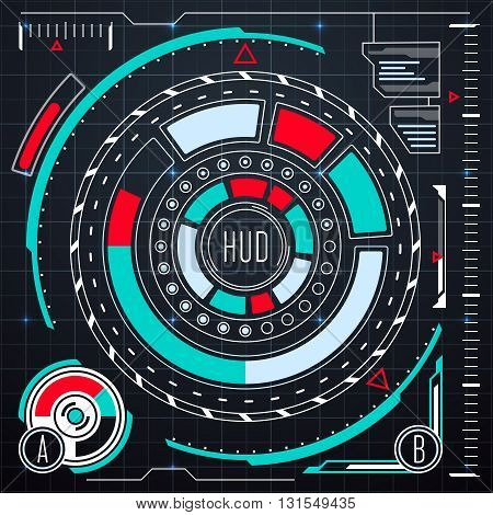 Futuristic user interface elements vector set. HUD or ui for virtual touch screen monitor. Virtual innovation interface or control panel interface