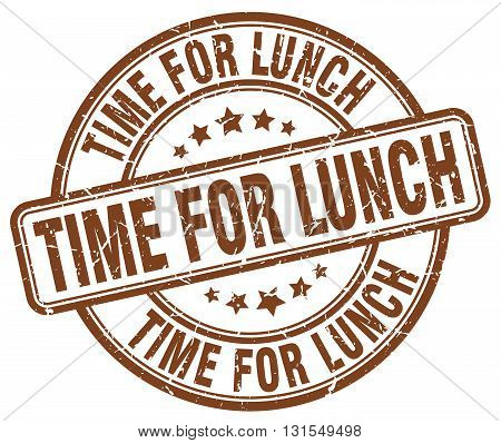 Time For Lunch Brown Grunge Round Vintage Rubber Stamp.time For Lunch Stamp.time For Lunch Round Sta