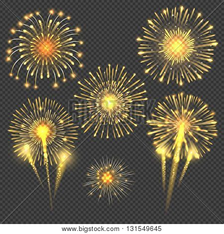 Vector celebratory gold firework salute burst. Light set firework and holiday firework for new year event illustration