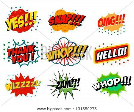 Set of comic style phrases isolated on white background. Pop art style phrases set. Wow! Oops! Whop! Design element for poster flyer. Vector design element.