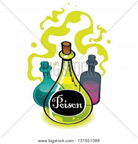 Chemistry glass flasks with a dangerous liquid poison