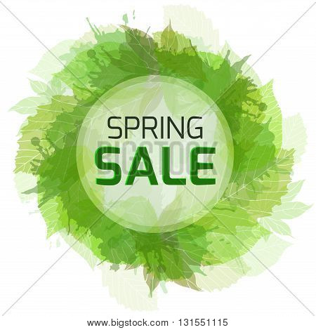 Round banner for the spring sale with green leaves. Vector element for your design