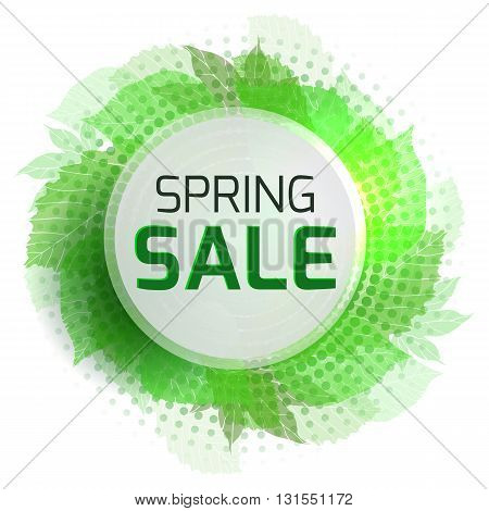 Round banner for the spring sale with green leaves and halftone. Vector element for your design