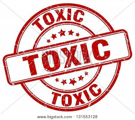 Toxic Red Grunge Round Vintage Rubber Stamp.toxic Stamp.toxic Round Stamp.toxic Grunge Stamp.toxic.t