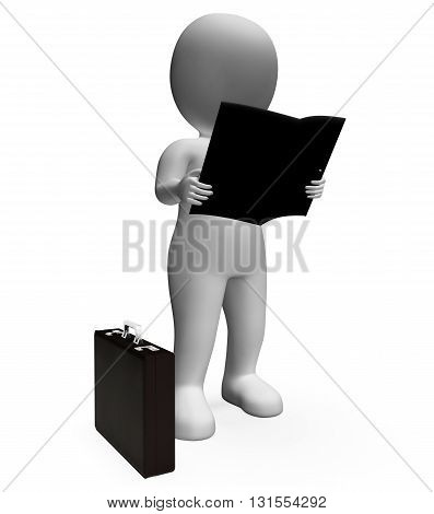 Reading Character Shows Business Person And Book 3D Rendering