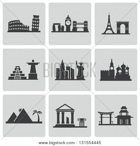 Vector black landmarks icons set on white background