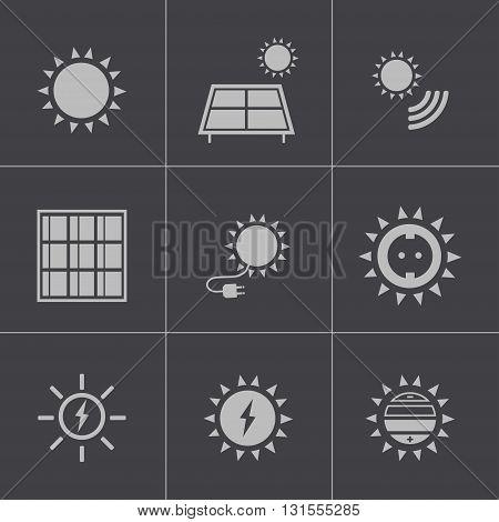 Vector black solar energy icons set on grey background