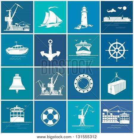 Set of Cargo and Marine Icons, Sea Cargo and Cruise Ships and Ship Equipment, International Freight Transportation, Nautical Symbol, Vector Illustration
