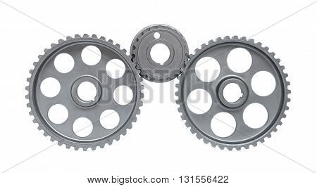 Three gears isolated on a white background.