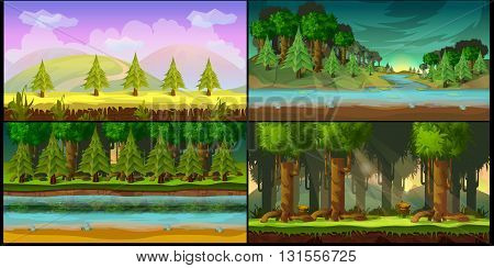 game background 2d game application.Tileable horizontally. Size 1024x512. Ready for parallax effect