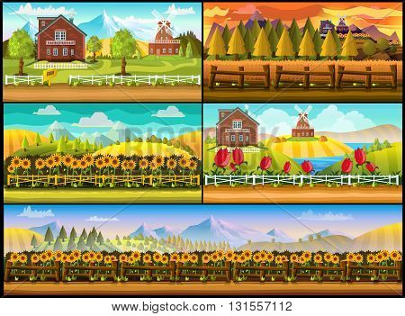 game background 2d game application. Vector design. Tileable horizontally. Ready for parallax effect