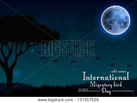 Vector illustration of Birds migratory day with tree and grass under moon on night background