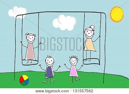Children group of kids. Playing together outdoors. Playground for children. Doodle hand drawn sketch scribble. Children background for cards books posters.Vector illustration