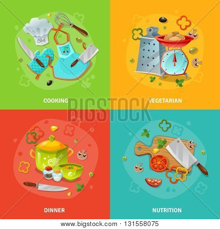 Cooking 2x2 design concept set of chef clothes and tools kitchen utensil with scales  and grater and dining table composition flat vector illustration