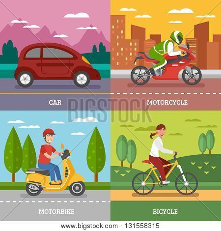 Personal transport concept with automobile motorbike bicycle with natural landscape motorcycle on city background isolated vector illustration