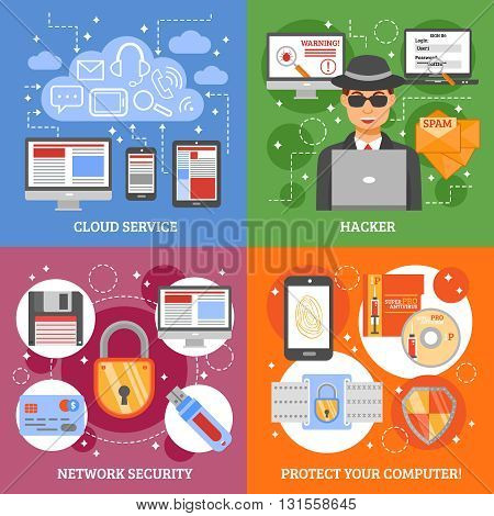 Network security 2x2 design concept set of cloud service computer protection and hacker attack flat vector illustration