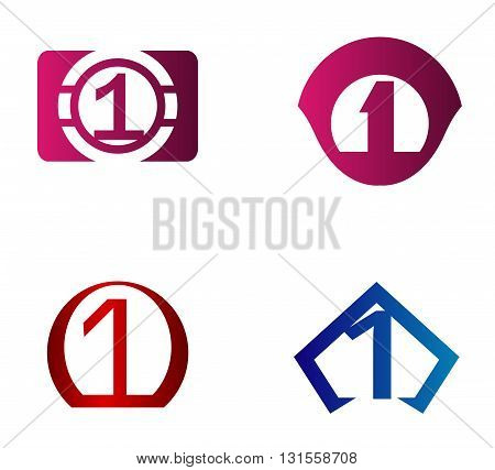 Vector sign number 1. Number 1 logo icon design template elements