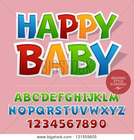 Cute sticker styled set of  alphabet letters, numbers and punctuation symbols. Vector sample with text Happy baby