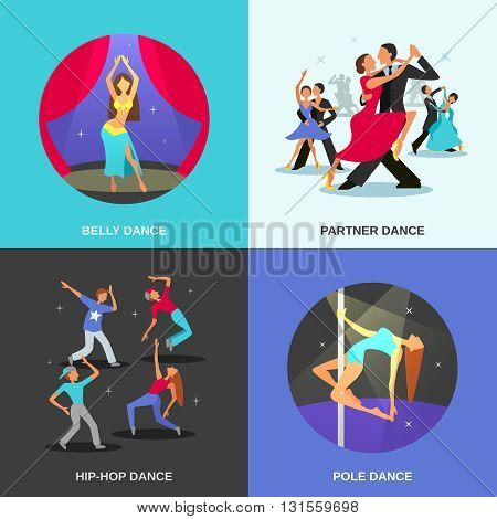 Color flat concept 2x2 depicting different dance style belly hip-hop partner pole vector illustration