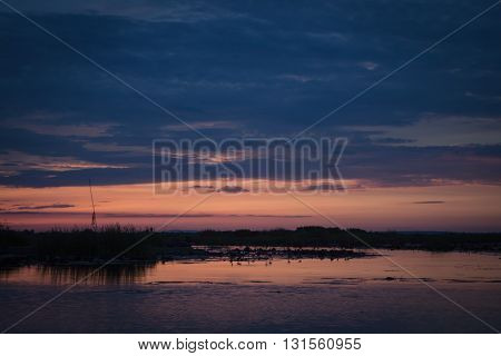 Sunrise on the lake with beautiful sky, stock photo