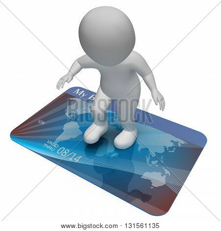 Credit Card Indicates Bankrupt Poverty And Shopping 3D Rendering