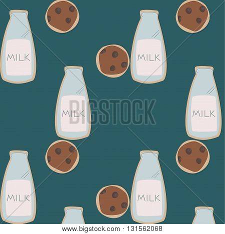 repeate bootle of milk with cookies pattern. Illustration can be used as a cover or print for cases, cloth, paper