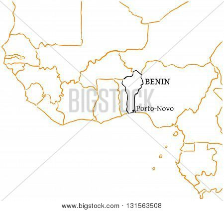 Benin country with its capital Porto-Novo in Africa hand-drawn sketch map isolated on white