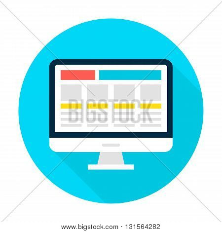 Computer Display Landing Page Flat Circle Icon