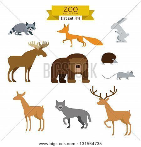 Flat design vector animals icon set bear fox elk