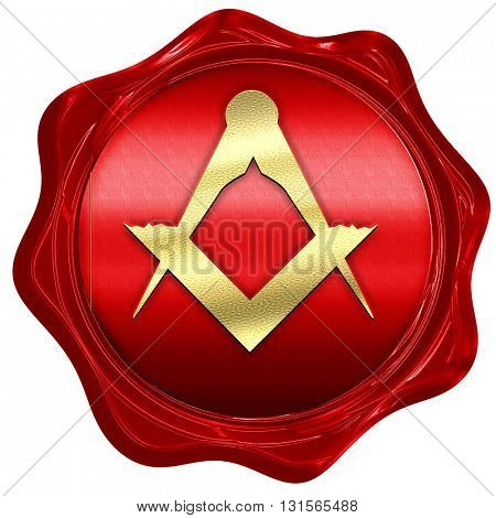 Masonic freemasonry symbol, 3D rendering, a red wax seal