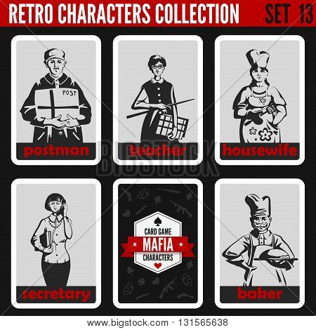 Vintage retro people collection. Mafia noir style. Postman, Teacher, Housewife, Secretary, Baker.