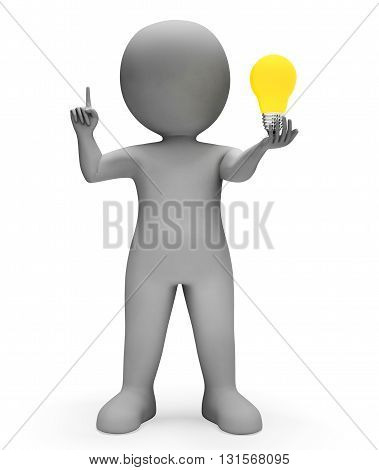 Character Lightbulb Shows Power Source And Reflecting 3D Rendering