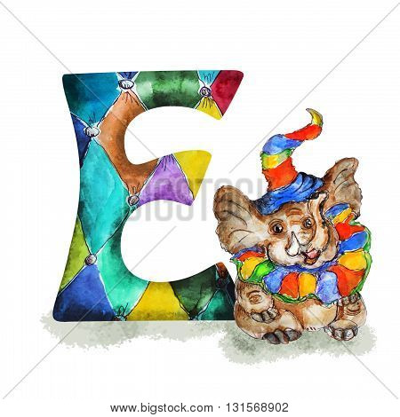 Font E Watercolor hand drawn  isolated baby elephant  in party hat