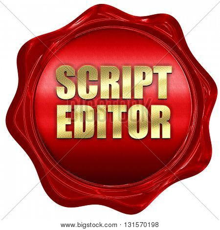 script editor, 3D rendering, a red wax seal