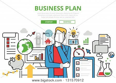Business Plan vector flat line art infographics banner