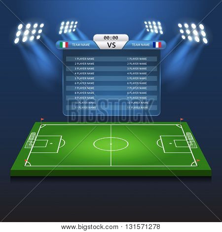 Soccer football scoreboard flat isometric vector 3d stadium
