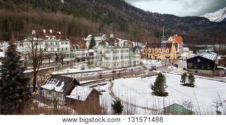 HOHENSCHWANGAU, GERMANY - JANUARY 1, 2012: Hohenschwangau castle in winter