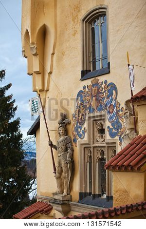 HOHENSCHWANGAU, GERMANY - JANUARY 1, 2012: Sculptures of Hohenschwangau castle
