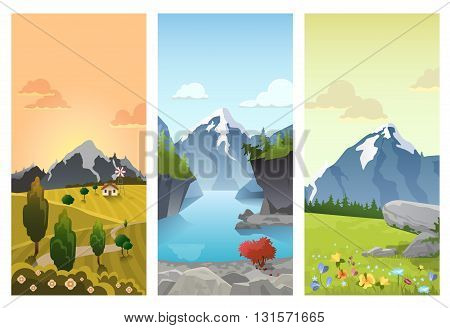 Hilly mountains vector flat landscape seasons summer autumn