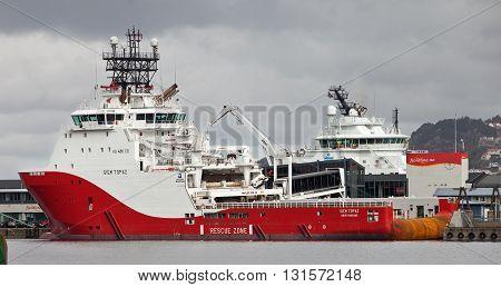 BERGEN, NORWAY - MAY 15, 2012: Tugboat Siem Topaz at pier in Bergen