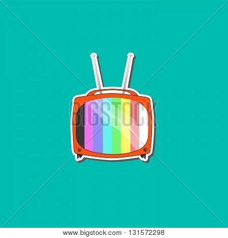 Tv with blue background for online business