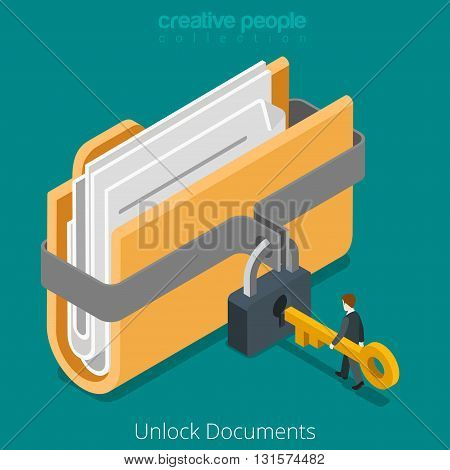 Unlock folder secure data file document lock key flat vector 3d