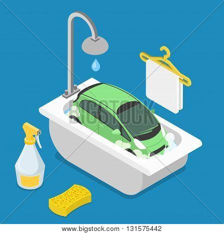 Car wash service. Car in bathroom bath bathing shower sponge detergent cleanser cleaner clean foam foamy. Flat 3d isometry isometric style web site app icon set concept vector illustration.
