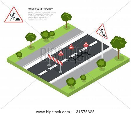Road block under construction. Road sign, triangle cap, barrier. Flat 3d isometry isometric style web site app icon set concept vector illustration.