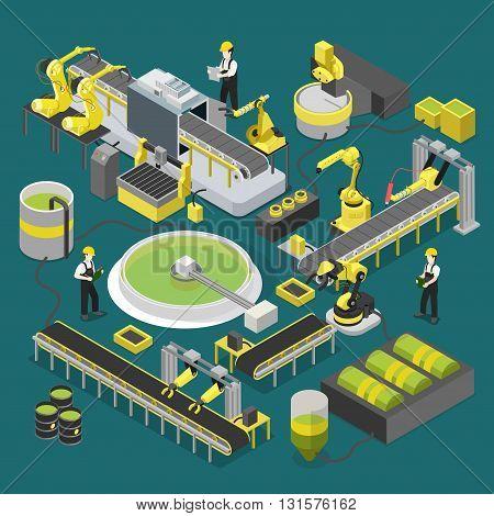 Chemical production plant conveyor workshop robotic flat 3d
