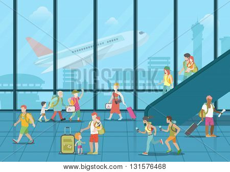 Airport waiting boarding zone interior and passengers hurry rush duty free package goods. Flat style website vector illustration. Creative people collection.
