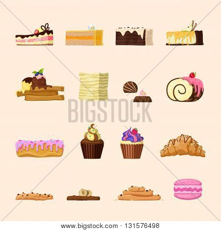 Yummy candy shop confectionery bakery product front view icon set. Cupcake croissant eclair chocolate roulette ice cream macaroon cake tart creamy almond nut. Creative sweet food collection.