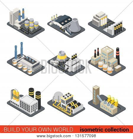 Power energy plant factory nuclear heat heating gas elevator industrial exterior. Flat 3d isometric building block construction place infographic set. Build your own infographics world collection.